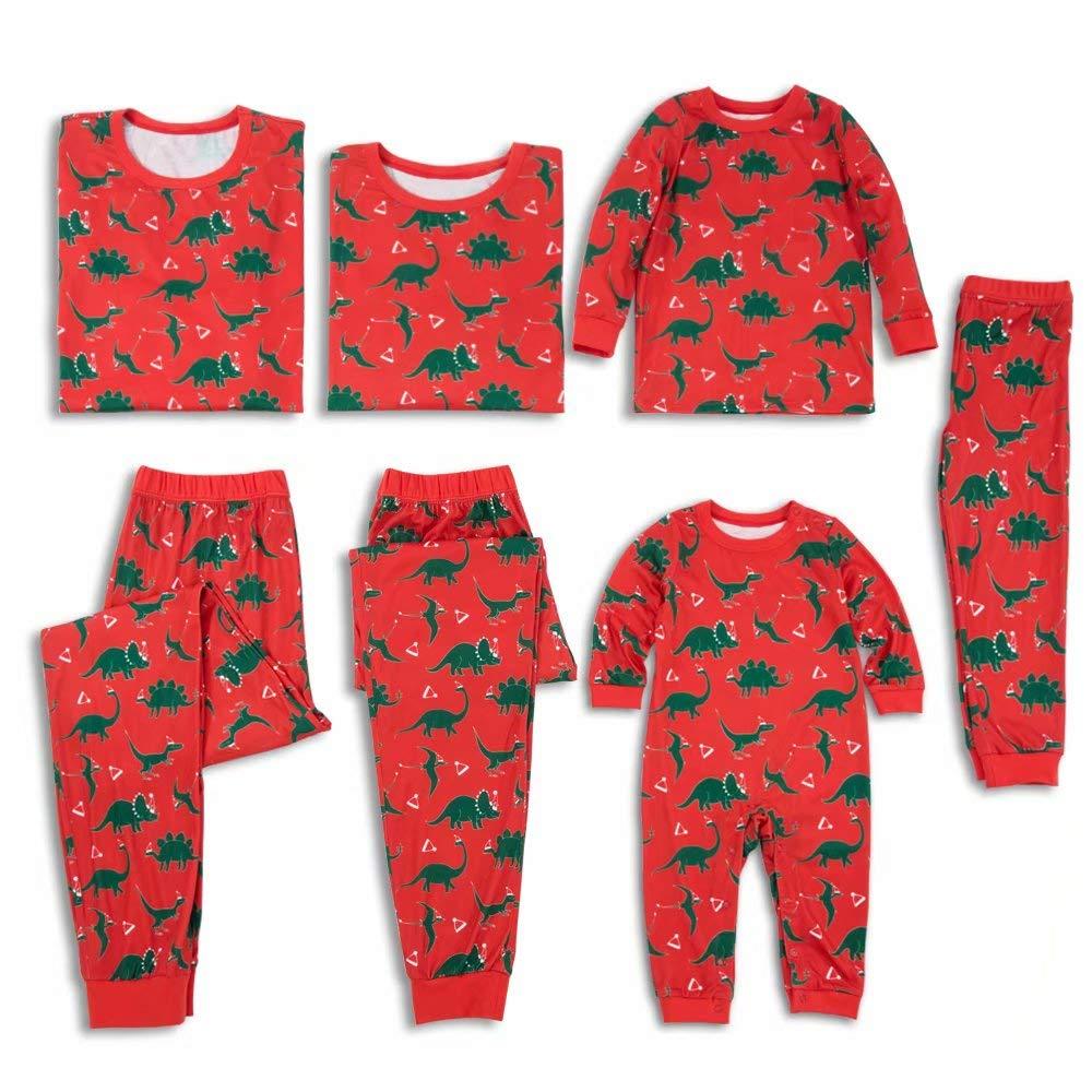 Yaffi Family Matching Christmas Pajamas Set All Over Dinosaur Print Top and Pants PJS Sleepwear for Kids Adult Kids: 3 Years by Yaffi