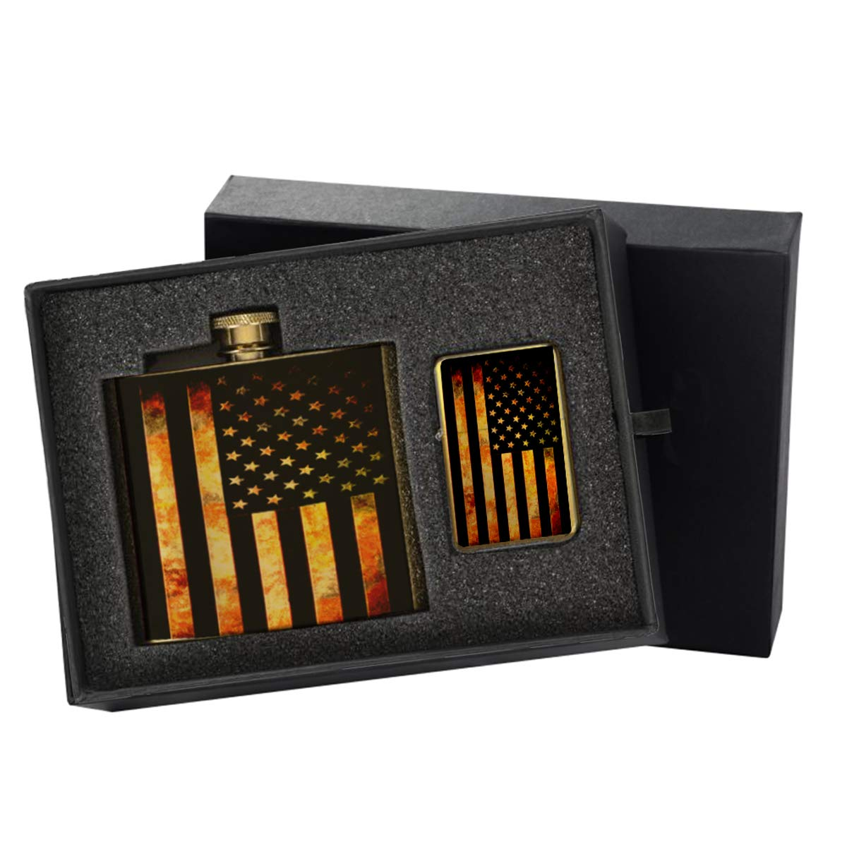 American Flag Grunge Metal - Gold Lighter and Pocket Hip Liquor Flask Survival Camping Gift Box Set