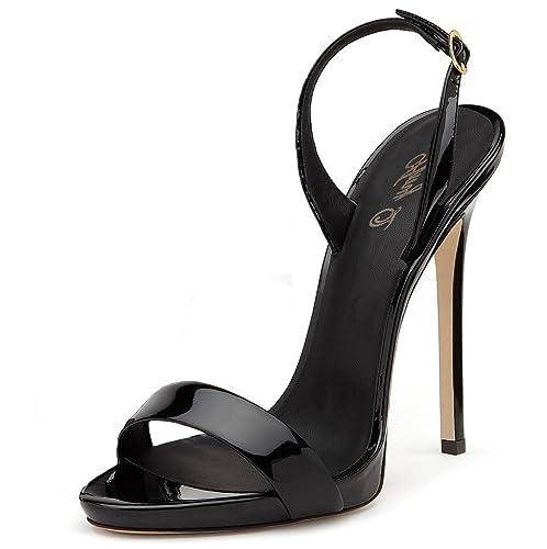 b6525f9f19 Amy Q Elegant Women's Basic Open Toe Black Patent High Heel Sandals Ladies  Summer Shoes