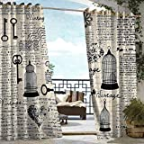 DILITECK Custom Outdoor Curtain Old Newspaper Decor Grunge Pattern with Bird Cages Keys Heart Shapes and Flower for Patio/Front Porch W72 xL84 Black Cream Baby Blue