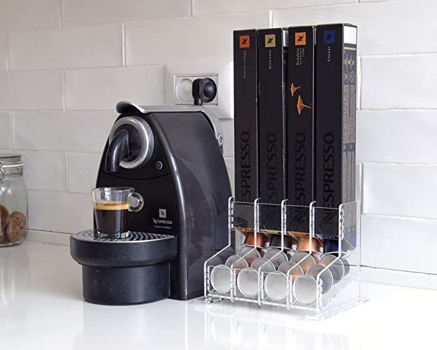 Clear Nespresso Coffee Capsules Holder, 40 Capsule Storage Rack