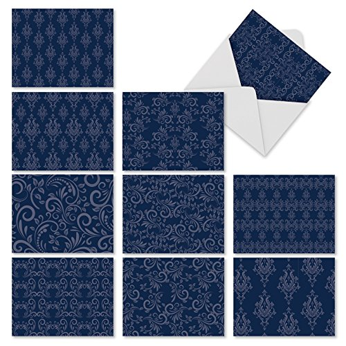 (Beautiful Assorted Blank Note Cards with Envelopes 4 x 5.12 inch - All Occasion Greeting Cards 'Indigo Blues' - Professional, Floral Blue Pattern Notecard Stationery (Box of 10))