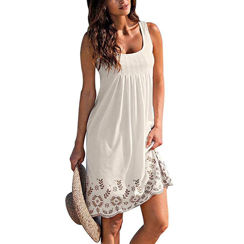 Alangbudu Women Summer Casual T Shirt Dresses Beach Cover up Plain Pleated Tank Midi Lace Edge Dress Sundress White