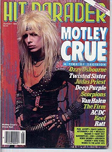 - Hit Parader Magazine MOTLEY CRUE Ronnie James Dio JUDAS PRIEST Madam X DEEP PURPLE Keel RATT August 1985 C