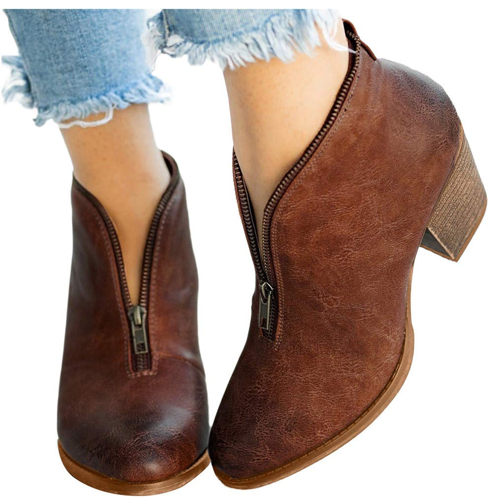 HIRIRI Womens Ankle Booties Retro Zip Closure Pointed Toe Roman Western Shoes Low Stack Heel Short Boots