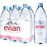 Evian Natural Spring Water, 1.0 Liter, 33.8-Ounce, 6-Count