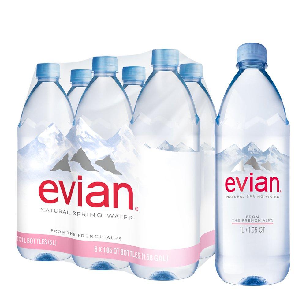 evian Natural Spring Water, 1 Liter Premium Water Bottles, 33.8 Fl Oz (Pack of 6) by evian