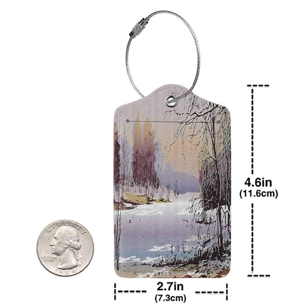Printed luggage tag Apartment Decor Collection Faded Winter Landscape in Sunny Weather Woodland River Nature Shady Environment Artsy Print Protect personal privacy Multi W2.7 x L4.6