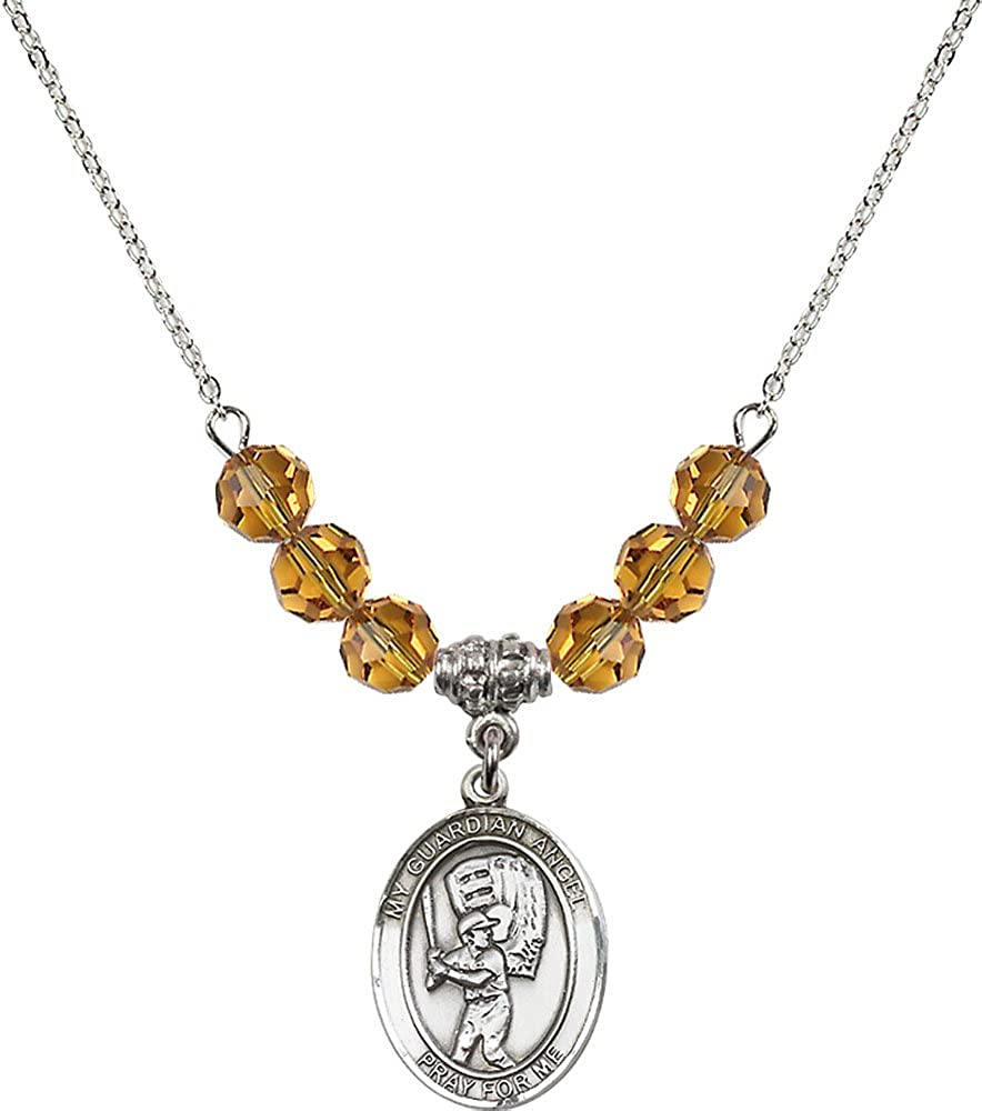 18-Inch Rhodium Plated Necklace with 6mm Topaz Birthstone Beads and Sterling Silver Guardian Angel//Baseball Charm.
