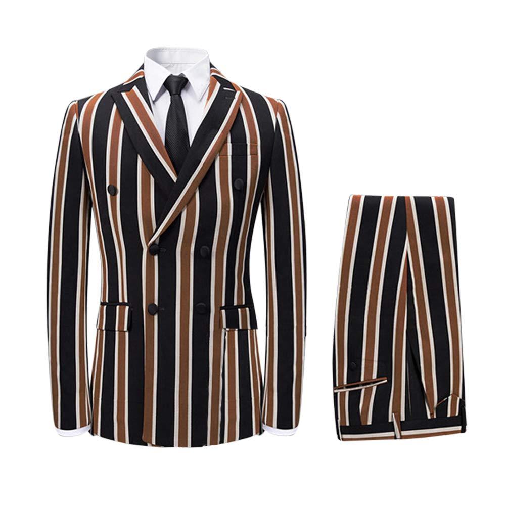 cf47b2ec284d7 Men's Colored Striped 3 Piece Suit Slim Fit Tuxedo Blazer Jacket Pants Vest  Set