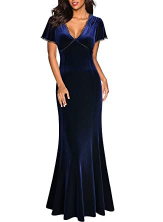 Miusol Damen Spitzen Velvet Kleid Vintage Samtkleid Elegant Brautjungfer  Abendkleider  Amazon.de  Bekleidung cc511981fa