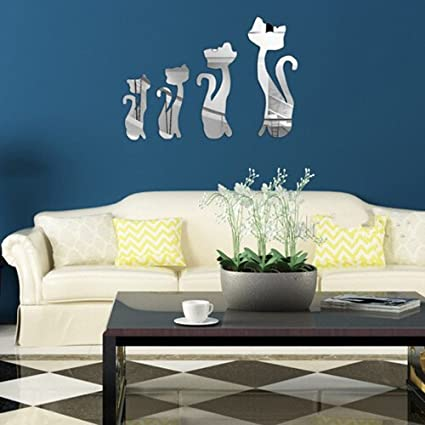 Specchi Adesivi Da Parete.Anmain Gattino Wall Stickers Hobby Creativi Bello Stickers