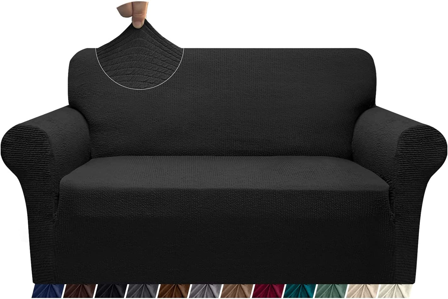 Granbest Sofa Slipcover 1-Piece Striped Sofa Cover for 2 Cushion Couch Thick Luxury Couch Cover for Living Room Soft Furniture Protector Dog Cat Pet Friendly(Medium, Black)