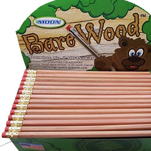 Moon Products Bare Wood Natural  Premium Pencils Number 2 HB (144 pencils)
