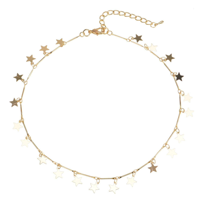 Oldlila Lucky Star Choker Necklace Pendant Disc Chain Statement Necklace Women Girls