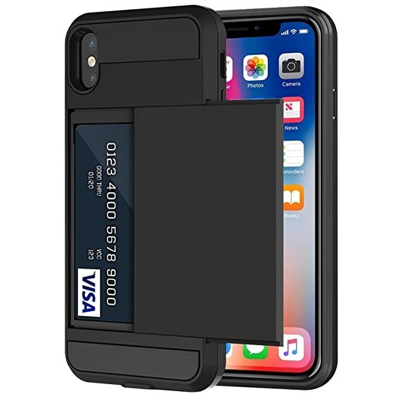 size 40 fe826 af6d8 iPhone X Case, iPhone 10 Case, Anuck Shockproof iPhone X Wallet Case [Slide  Cover][Anti-scratch] Rugged Protective Shell Armor Soft Rubber Bumper Case  ...
