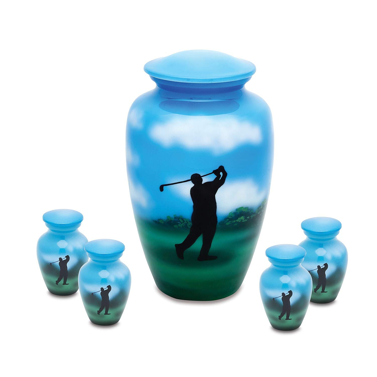 Down The Middle Adult Urn with 4 Matching Keepsake Token urns by UrnsDirect2U