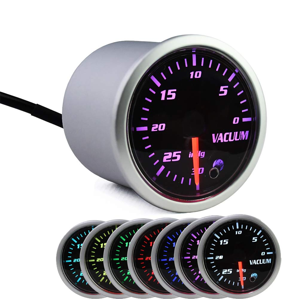 7 Color Vacuum Gauge Kit-2 Inch 52mm Vacuum Indicator Gauge 0 to 30 in.HG Vacuum Auto Car Meter Smoke Tint Lens 12V by MotorbyMotor