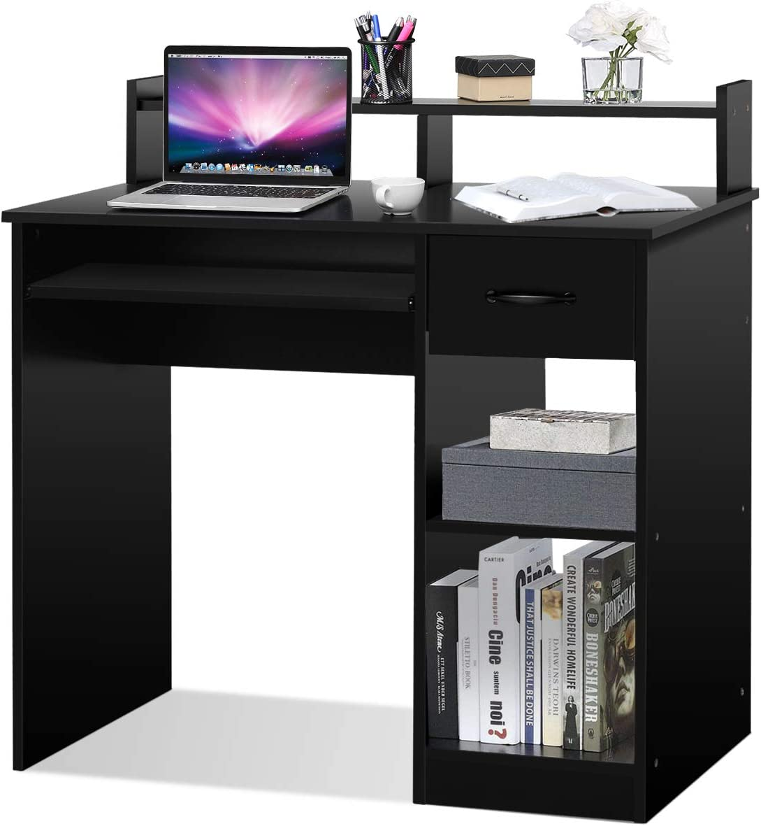 Tangkula Computer Desk, Home Office Wooden PC Laptop Desk, Modern Simple Style Wood Study Workstation, Writing Table with Storage Drawer Shelves, Wooden Furniture Black
