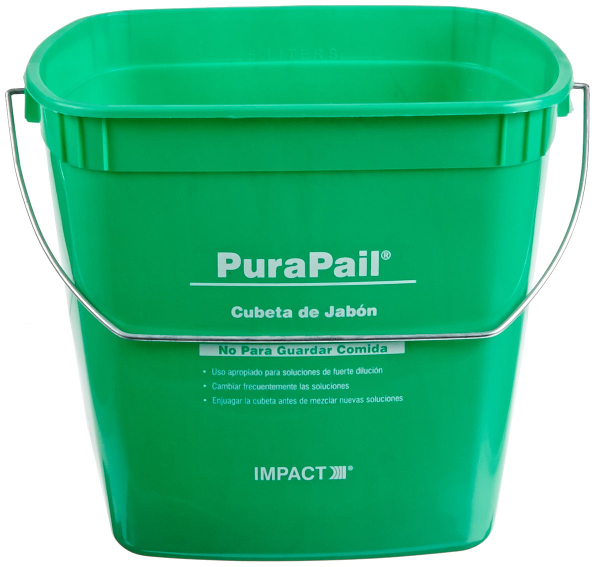 Impact 5506-14C Utility PuraPail Cleaning Bucket, 6 qt Capacity, 7-1/2'' Length x 9'' Width x 7'' Height, Green (Case of 12)
