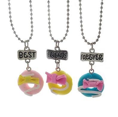 3 piezas Mejores amigos Por sienpre BFF Arco Pan de molde Donuts Suave cerámica Colgante Collar