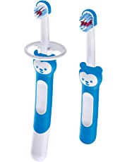 MAM Learn to Brush Set, Baby Toothbrush Set, Boy, 6+ Months, 2-Count, Blue
