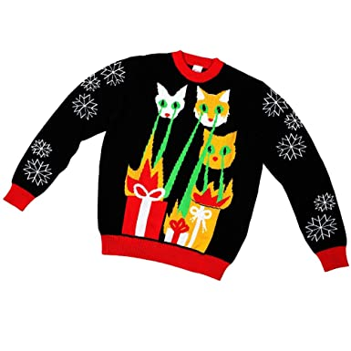 76859da35c88e Amazon.com: Kids, Laser Cat-Zillas Ugly Christmas Sweater- FunQi (5 ...