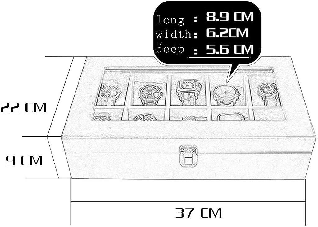 WCX Scatola Per Orologi, Cassa Per Orologi In Legno 10 Scatole Per Orologi Con Cassa Per Orologi Scatole Per Orologi Con Ripiano In Vetro E Cuscini Rimovibili 37x22x9cm