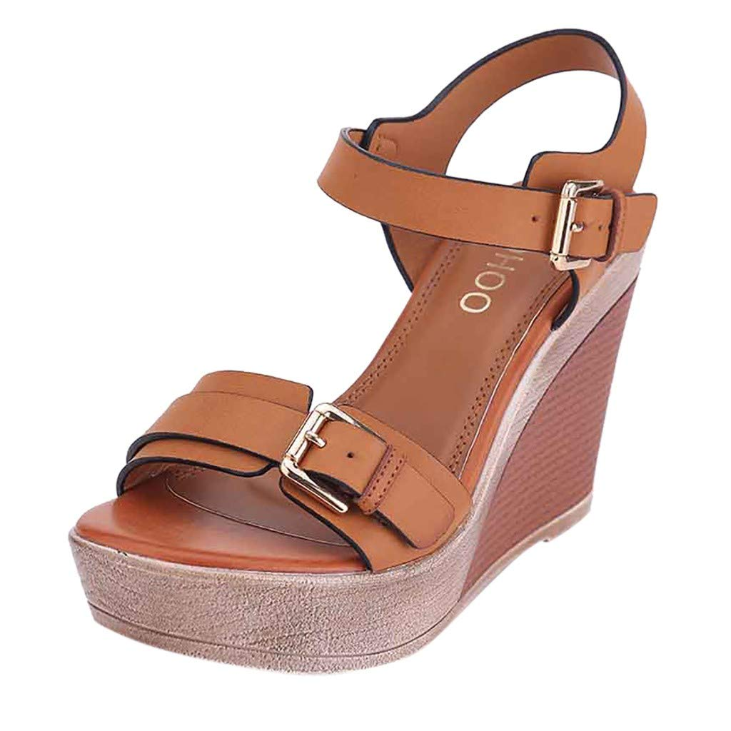Womens Buckle Strap Ankle Sandals Thick Sole Wedge Platform High Heel Sandals Peep Toe Comfy Shoes 5.5-8 (Brown, US:7) by Aritone - Women Shoes (Image #1)