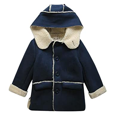 63ea26cdd256 Amazon.com  LSERVER Baby Boy Faux Lamb Wool Jacket Soft Thick Trench ...