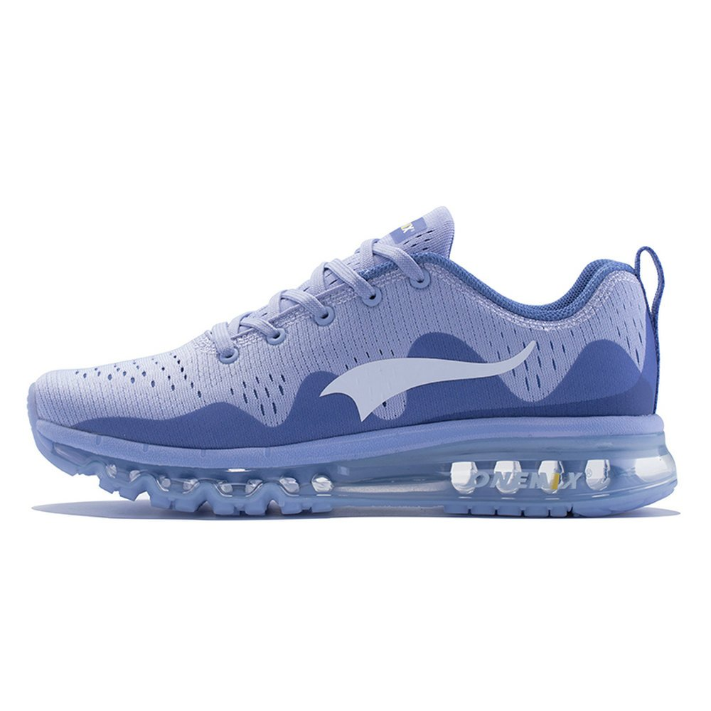 Onemix Zapatos para Correr Hombre Mujer Deportes Zapatillas de Running Sports Shoes New Wave Air Sneakers 35 EU|Claro De Luna / Plata