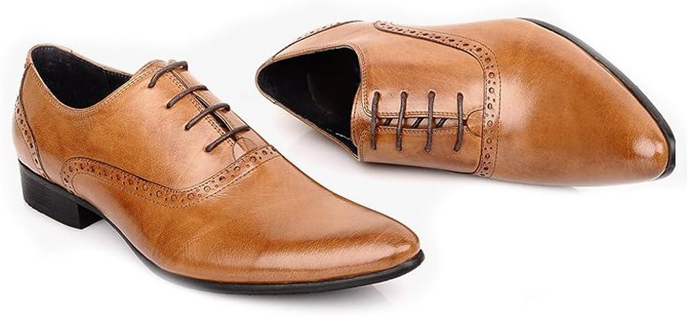 Fulinken Mens Leather Classic Oxford Shoes Formal Dress Shoes