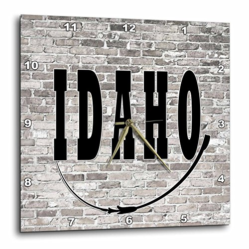3dRose RinaPiro - US States - Idaho. State Capital is Boise. - 15x15 Wall Clock (Boise State Desk Clock)