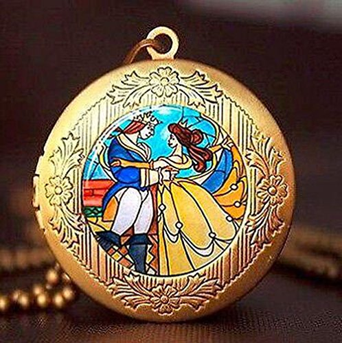 Undertale necklace New Movie Beauty and the Beast Flowers Rose Locket Necklace vintage pendant gift chain