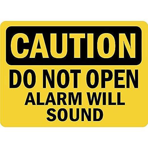 BORJOR Caution Do Not Open Alarm Will Sound -Cartel de Pared ...