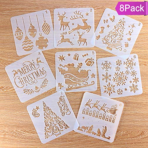 8 Pcs Christmas Stencils Template Reusable Plastic DIY Christmas Decoration For Craft Art Drawing Painting Spraying Window Glass Body Journaling Scrapbook Holiday 5x5 inch (Card Decorations Christmas)