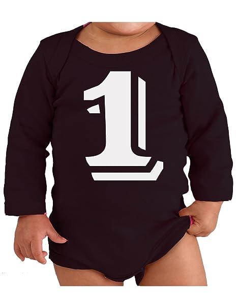 23e1fff4 Custom Kingdom Number 1 - First Birthday Party One-Year-Old Bodysuit (Long
