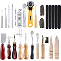 walmeck Professional 24pcs Leather Craft Tools Kit Hand Leathercraft Accessories Leather Making Tool Set