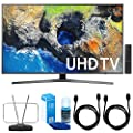 "Samsung 65"" 4K Ultra HD Smart LED TV - UN65MU7000 (2017 Model) w/ TV Cut The Cord Bundle Includes, Durable HDTV & FM Antenna, 2x 6ft. High Speed HDMI Cable & Screen Cleaner (Large Bottle) for LED TVs"