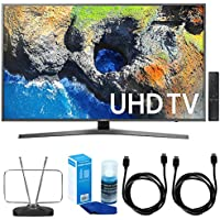 Samsung 65 4K Ultra HD Smart LED TV - UN65MU7000 (2017 Model) w/ TV Cut The Cord Bundle Includes, Durable HDTV & FM Antenna, 2x 6ft. High Speed HDMI Cable & Screen Cleaner (Large Bottle) for LED TVs