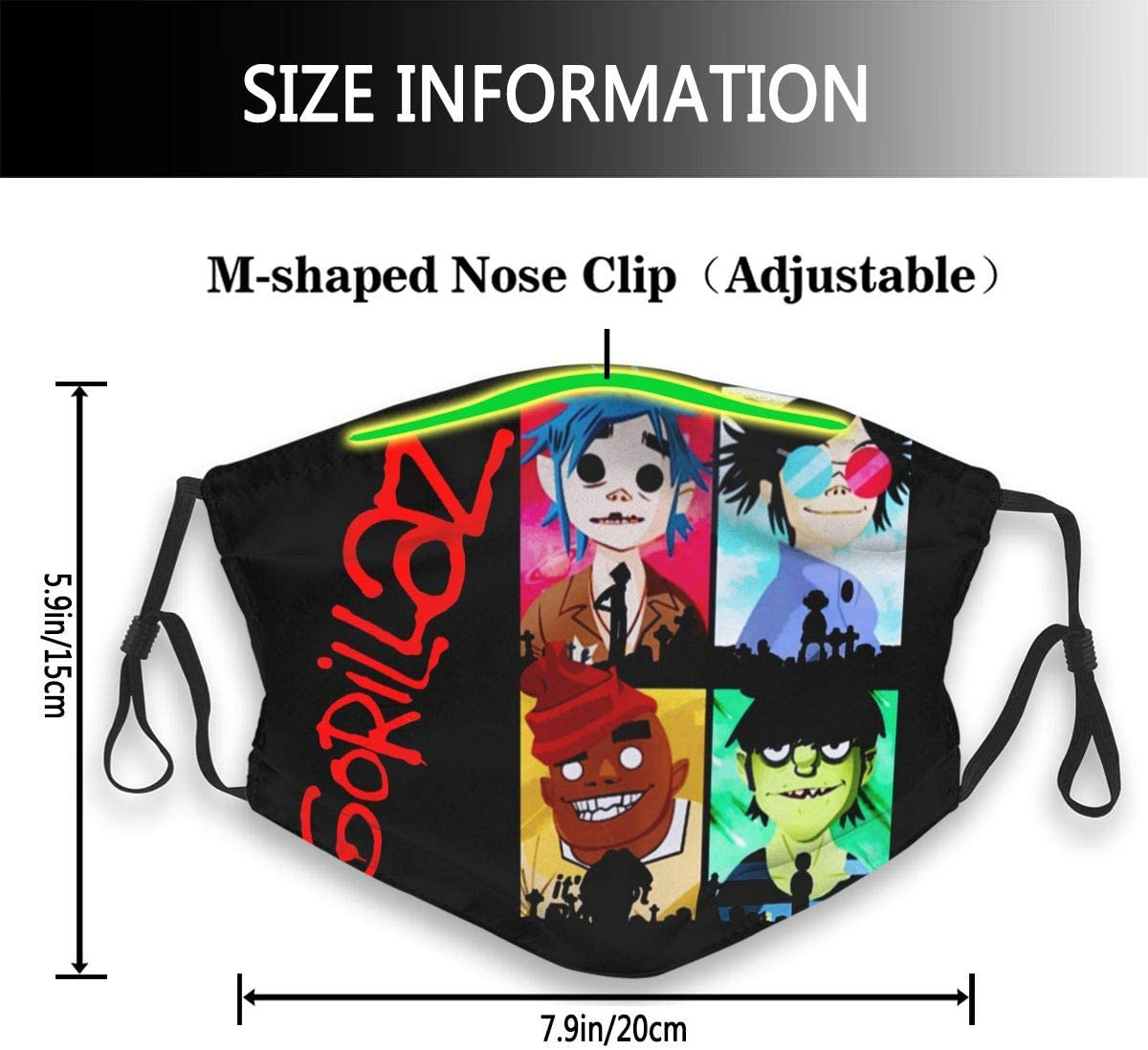 Black Halloween Art G-Orillaz Adult Unisex Dual Front Windproof Breath Face Mask Scarf Mask Sport Protective Anti Dust Masks Cotton Mouth Cover Outdoor Washable//Reusable for Women and Men 3D