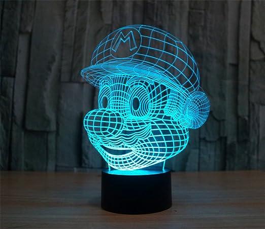 Mario 3D LED illusion Acrylic Table Desk Night Light Lamp Child Gift 7-color USB