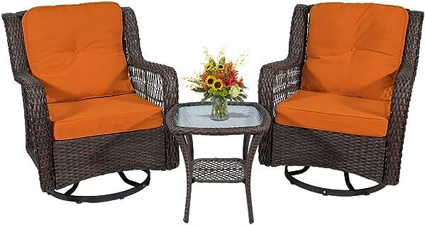 Go Light Outdoor Bistro Set Swivel Rocking Chair 3 Piece Patio Set Rattan Chairs Conversation Set