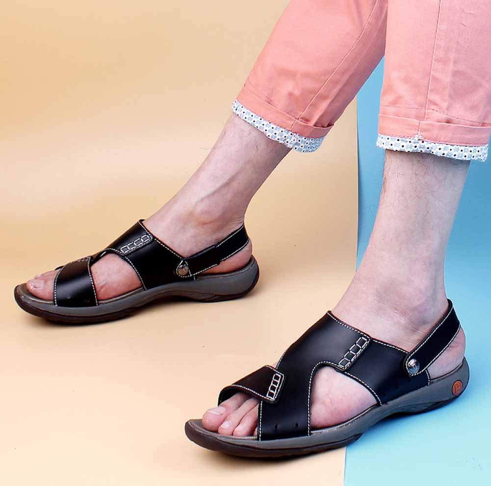 Männer Outdoor Sandalen 2018 Sommer Leder Strand Schuhe Casual Wasserdichte Wasserdichte Wasserdichte Hausschuhe große Größe 42a367