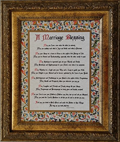 A Marriage Blessing - Framed Inspirational Prayer for Bride and Groom - Wedding or Anniversary - Framed Marriage