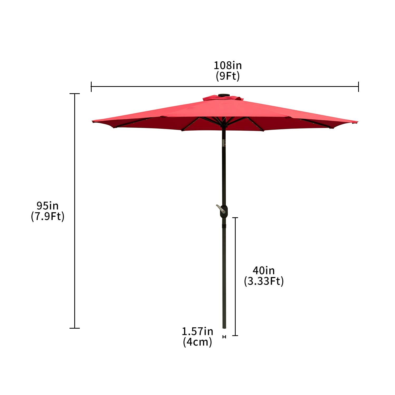 Ainfox 9 FT Solar Patio Umbrella, 32 LED Lighted with Tilt w Crank Adjustment, 8 Steel Umbrella Ribs, Outdoor Waterproof Fade-Resistant Fabric for Garden, Deck, Backyard, Pool