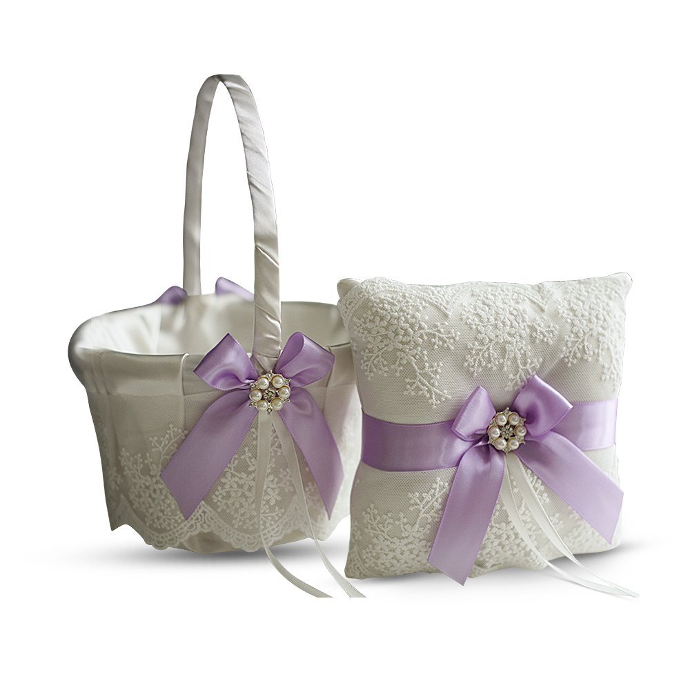Alex Emotions Ivory Ring Bearer Pillow and Basket Set | Lace Collection | Flower Girl & Welcome Basket for Guest | Handmade Wedding Baskets & Pillows (Violet Lilac Lavender)