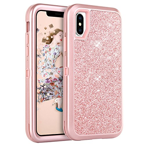 BENTOBEN iPhone X Case, iPhone Xs 2018 Case,Bling Glitter iPhone X/XS Case 3 in 1 Slim Hybrid Sparkly Shiny Hard PC and TPU Bumper Shockproof Protective Case for iPhone X 2017/XS 2018, Rose Gold