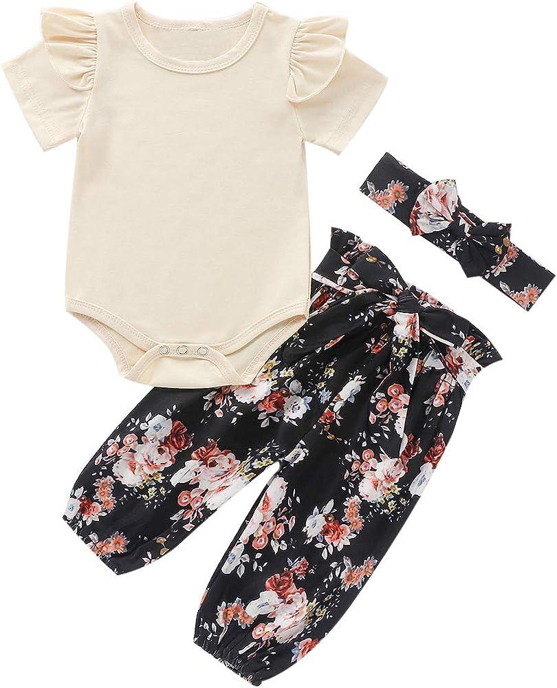 Newborn Baby Girl 3PCS Bodysuit Romper Pants Headband Set Infant Outfits Clothes