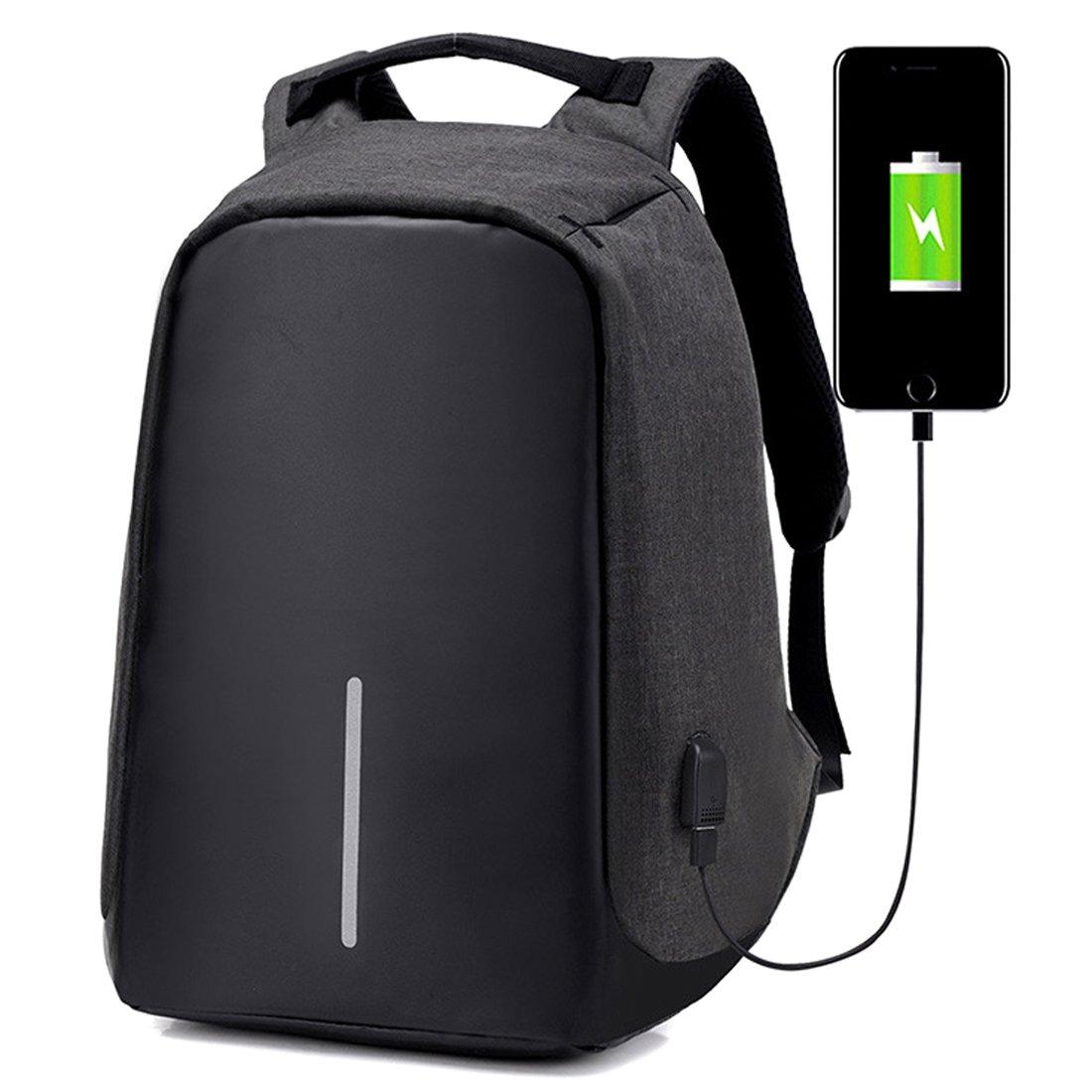 College Backpack, Business Laptop Backpack, Anti-theft Water Resistant Computer USB Charging Port, Lightweight Travel Bag Fit 15.6 Inch Laptops Tablets in Dark Indigo (Black)